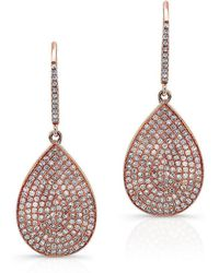 Anne Sisteron - 14kt Rose Gold Diamond Medium Pear Shaped Earrings - Lyst