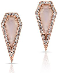 Anne Sisteron - 14kt Rose Gold Moonstone Diamond Shield Earrings - Lyst