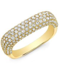 Anne Sisteron - 14kt Yellow Gold Luxe Diamond Square Ring - Lyst