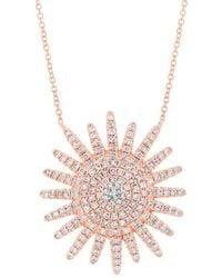 Anne Sisteron - 14kt Rose Gold Diamond Aurora Sun Necklace - Lyst