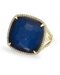 Anne Sisteron - 14kt Yellow Gold Diamond Blue Sapphire Laguna Triplet Cushion Cut Cocktail Ring - Lyst