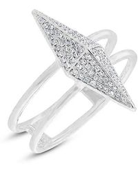 Anne Sisteron - 14kt White Gold Diamond Pave Pyramid Ring - Lyst