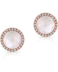 Anne Sisteron - 14kt Rose Gold Diamond Mother Of Pearl Disc Stud Earrings - Lyst