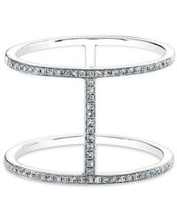 Anne Sisteron - 14kt White Gold Diamond H Trois Ring - Lyst