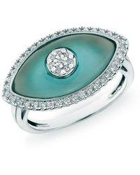 Anne Sisteron - 14kt White Gold Blue Topaz Diamond Evil Eye Ring - Lyst
