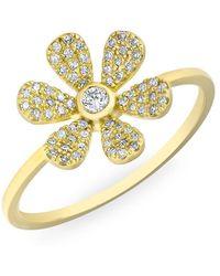 Anne Sisteron - 14kt Yellow Gold Diamond Single Daisy Ring - Lyst