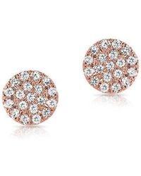 Anne Sisteron - 14kt Rose Gold Mini Diamond Disc Stud Earrings - Lyst