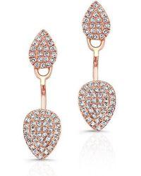 Anne Sisteron - 14kt Rose Gold Pear Shaped Floating Earrings - Lyst