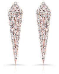 Anne Sisteron - 14kt Rose Gold Diamond Mini Spear Earrings - Lyst