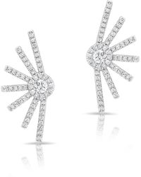 Anne Sisteron - 14kt White Gold Diamond Deco Stud Earrings - Lyst