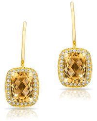 Anne Sisteron - 14kt Yellow Gold Diamond Citrine Rectangle Earrings - Lyst