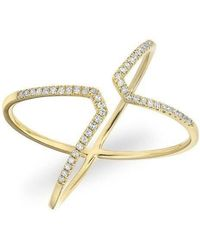 Anne Sisteron - 14kt Yellow Gold Diamond Open X Ring - Lyst