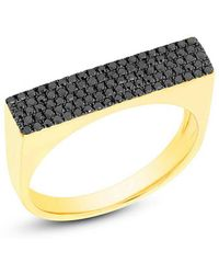 Anne Sisteron - 14kt Yellow Gold Black Diamond Brick Ring - Lyst