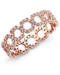 Anne Sisteron - 14kt Rose Gold Diamond Thin Chain Link Ring - Lyst