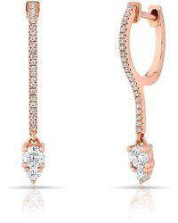 Anne Sisteron - 14kt Rose Gold Diamond Drop Lila Huggie Earrings - Lyst