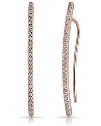 Anne Sisteron - 14kt Rose Gold Diamond Mini Wishbone Earrings - Lyst