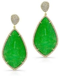 Anne Sisteron | 14kt Yellow Gold Jade Diamond Leaf Shape Earrings | Lyst