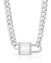 Anne Sisteron - 14kt White Gold Diamond Lovelock Necklace - Lyst