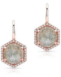 Anne Sisteron - 14kt Rose Gold Labradorite Diamond Hexagon Dangle Earrings - Lyst