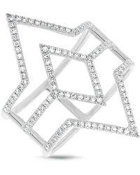 Anne Sisteron - 14kt White Gold Diamond Open Double Spear Ring - Lyst