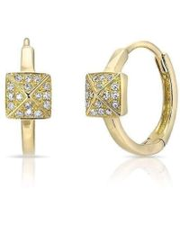 Anne Sisteron - 14kt Yellow Gold Diamond Pyramid Huggie Earrings - Lyst