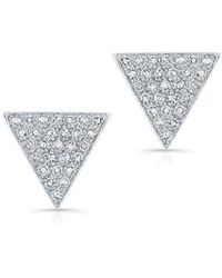 Anne Sisteron - 14kt White Gold Diamond Large Triangle Emma Stud Earrings - Lyst