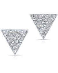 Anne Sisteron | 14kt White Gold Diamond Large Triangle Emma Stud Earrings | Lyst