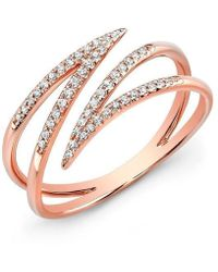 Anne Sisteron - 14kt Rose Gold Diamond Spike Wrap Ring - Lyst