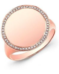 Anne Sisteron - 14kt Rose Gold Diamond Solid Circle Ring - Lyst