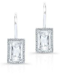 Anne Sisteron - 14kt White Gold Rectangle White Topaz Diamond Earrings - Lyst