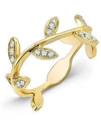 Anne Sisteron - 14kt Yellow Gold Diamond Leaf Knuckle Ring - Lyst