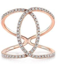 Anne Sisteron - 14kt Rose Gold Diamond Cigar Band Ring - Lyst