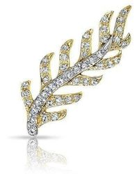 Anne Sisteron - 14kt Yellow And White Gold Diamond Leaf Ear Climber - Lyst