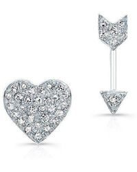 Anne Sisteron | 14kt White Gold Diamond Cupid Earrings | Lyst