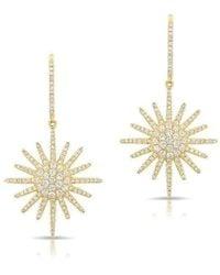 Anne Sisteron - 14kt Yellow Gold Diamond Aurora Sun Earrings - Lyst