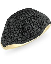 Anne Sisteron - 14kt Yellow Gold Black Diamond Cushion Pinkie Ring - Lyst