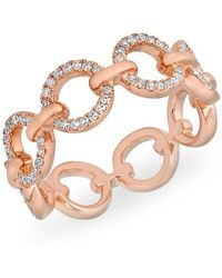 Anne Sisteron - 14kt Rose Gold Diamond Open Circle Link Drea Ring - Lyst