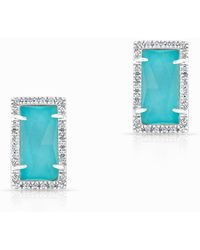 Anne Sisteron - 14kt White Gold Diamond Turquoise Sara Stud Earrings - Lyst