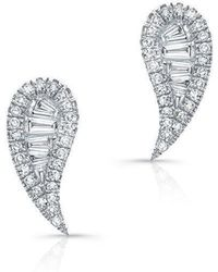 Anne Sisteron - 14kt White Gold Baguette Diamond Paisley Stud Earrings - Lyst