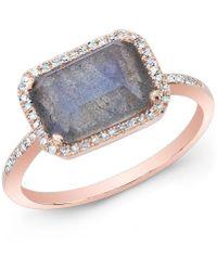 Anne Sisteron - 14kt Rose Gold Labradorite Diamond Chic Ring - Lyst