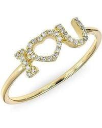 Anne Sisteron - 14kt Yellow Gold Diamond I - Heart - U Ring - Lyst