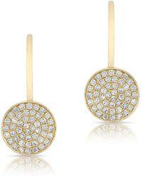 Anne Sisteron - 14kt Yellow Gold Mini Diamond Disc Wireback Earrings - Lyst
