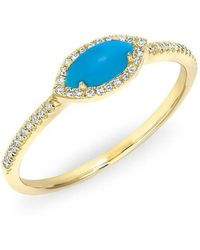 Anne Sisteron - 14kt Yellow Gold Diamond Turquoise Mini Marquis Ring - Lyst