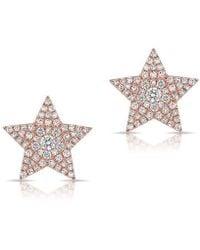 Anne Sisteron - 14kt Rose Gold Diamond Star Stud Earrings - Lyst