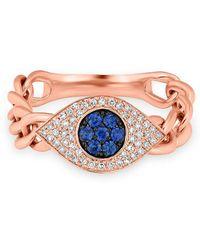 Anne Sisteron - 14kt Rose Gold Diamond Sapphire Evil Eye Chain Ring - Lyst