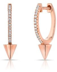 Anne Sisteron - 14kt Rose Gold Diamond Spike Nia Huggie Earrings - Lyst