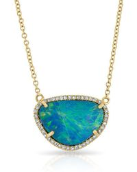 Anne Sisteron - 14kt Yellow Gold Opal Diamond Organic Necklace - Lyst