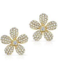 Anne Sisteron - 14kt Yellow Gold Diamond Puffy Daisy Flower Stud Earrings - Lyst