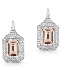 Anne Sisteron - 14kt White Gold Morganite Diamond Earrings - Lyst