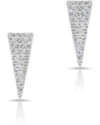 Anne Sisteron - 14kt White Gold Diamond Mini Long Triangle Stud Earrings - Lyst